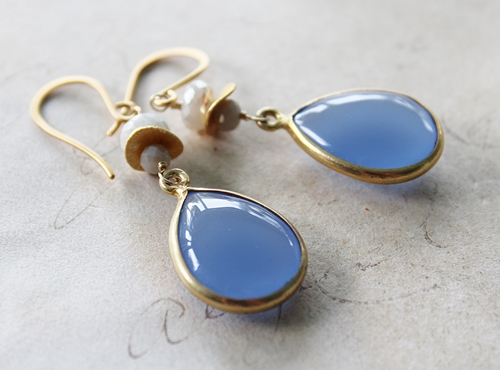 Cornflower Blue Quartz and Corrundum Earrings - The Avaril Earrings