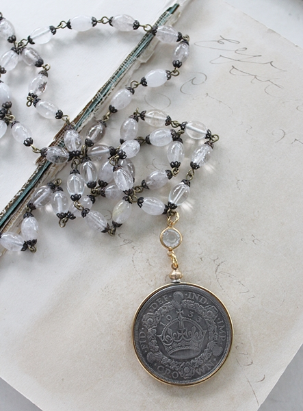 Golden Rutiliated Quartz Vintage Coin Necklace - The Crown Necklace