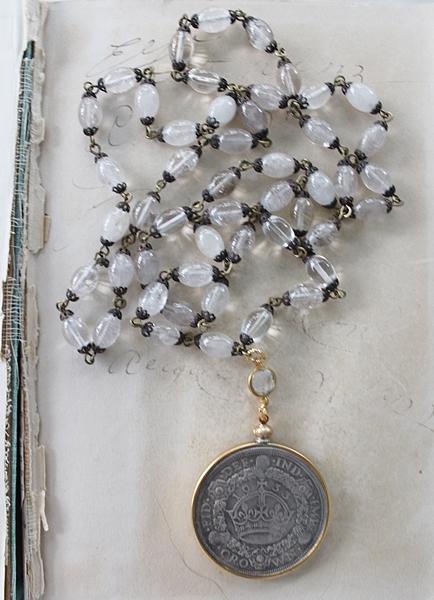 Golden Rutiliated Quartz Vintage Coin Necklace - The Crown Necklace