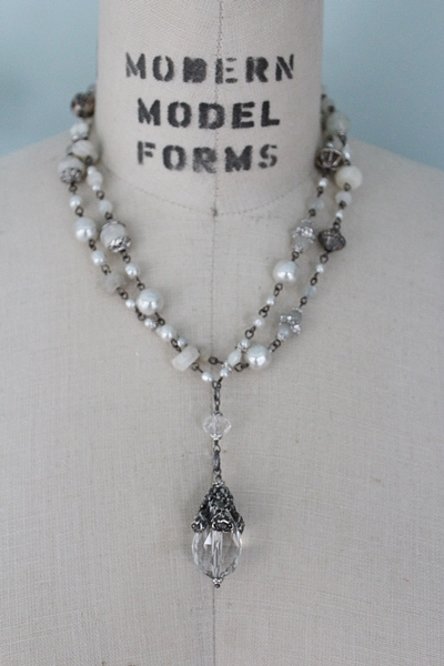 Crystal and Mixed Stone Chain and Pendant - The Flora Necklace