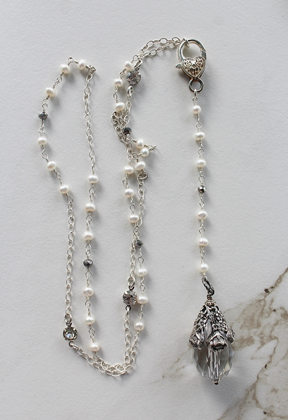 Fresh Water Pearl and Crystal Drop Lariat Necklace - The Eleanor Necklace