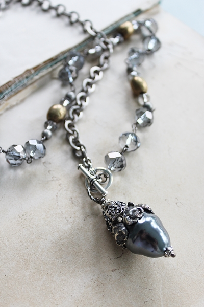 Czech Glass and Floral Cap Necklace - The Selma Necklace