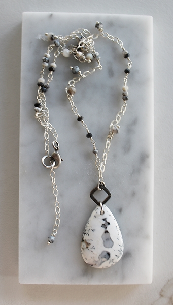 Dendritic Opal Pendant on Sterling Silver Necklace - The Lane Necklace