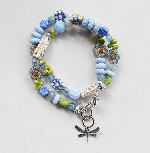 Mixed Czech Glass Double Wrap Bracelet - The Dragonfly Bracelet