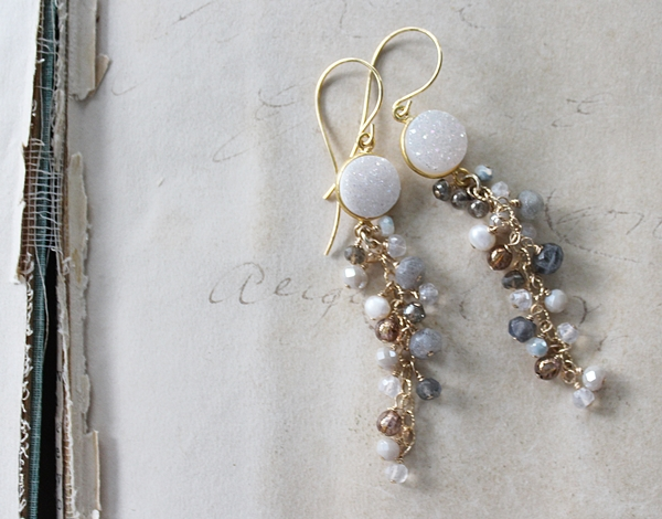 Druzy Cluster Drop Earrings - The Presley Earrings