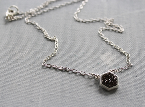 Octagon Druzy Necklace 14kt Gold or Sterling Silver - The Daphne Necklace