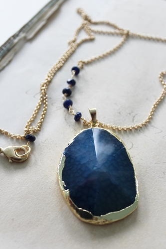 Smooth Druzy and Sapphire Necklace