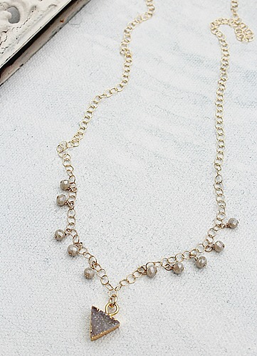 Petite Triangle Druzy Necklace - The Cara Necklace
