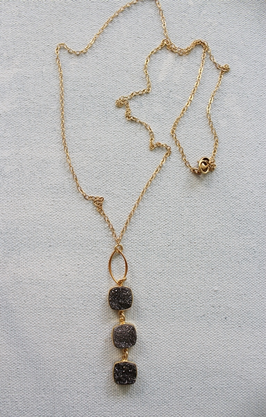 Black Druzy Trio Necklace