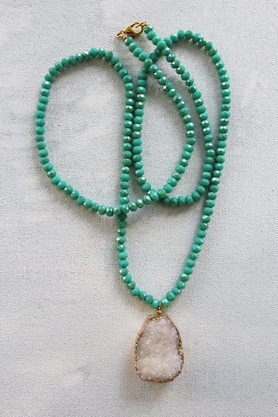 White Druzy Aqua Glass Necklace