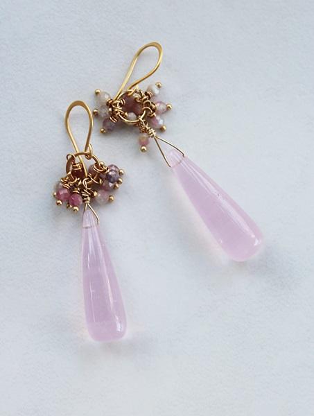 Rose Quartz Drops and Pink Tourmaline Cluster Earrings - The Bibi Earrings