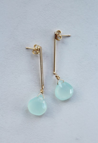 Sea Blue Chalcedony Post Drop Earrings - The Cleo Earrings