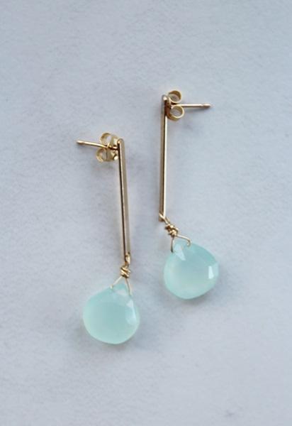 Sea Blue Chalcedony Post Drop Earrings - The Cleo Earrings