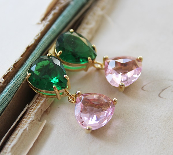 Emerald and Pink Quartz Post Earrings - The Lainey Earrings