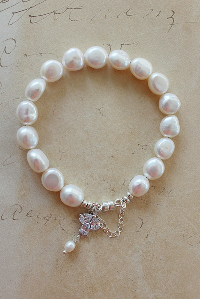 Fresh Water Pearl and CZ Bracelet - The Emily Bracelet