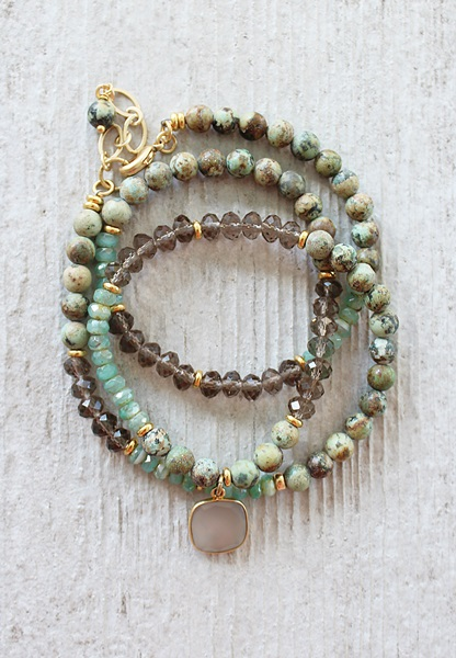 African Turquoise and Glass Triple Wrap Bracelet/Necklace - The Jaden