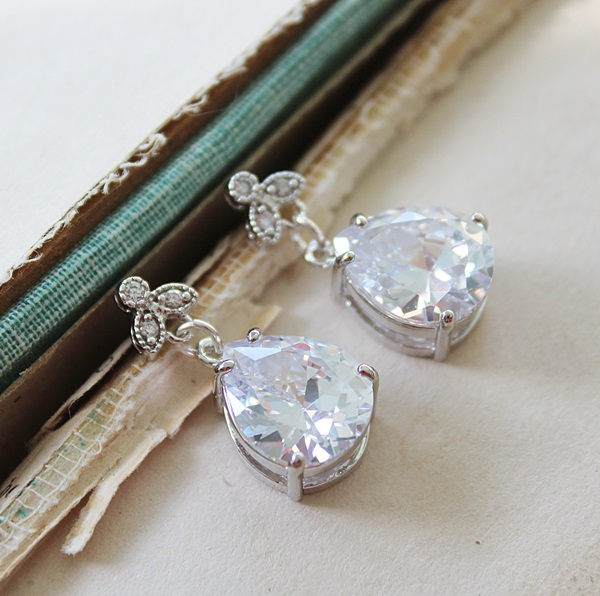 CZ Teardrops with Fancy Connector Post Earrings - The Lydia Earrings