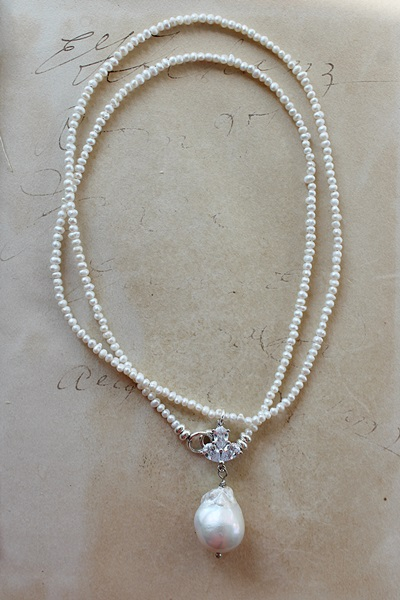 Petite Fresh Water Pearls with Baroque Pearl Pendant - The Amalie Necklace