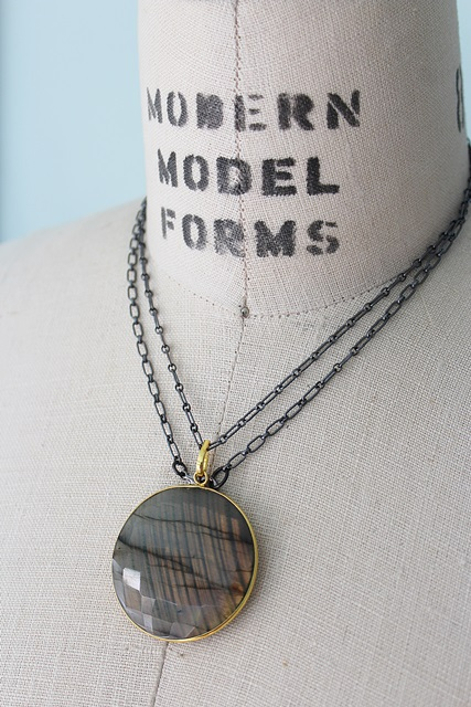 Labradorite and Oxidized Sterling Silver Necklace - The Susanna Necklace