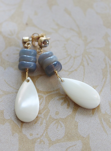 Mother of Pearl Shell, Vintage Glass and Blue Topaz Post Earrings - The Veronica Earrings