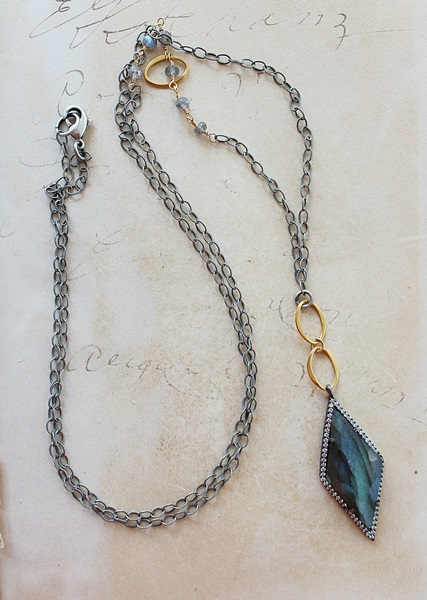 Labradorite and CZ Pendant on Mixed metal chain necklace - The Andrea Necklace