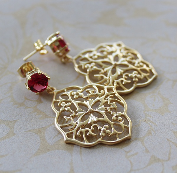 Ruby Quartz and Filigree Post Earrings - The Holly Earrings