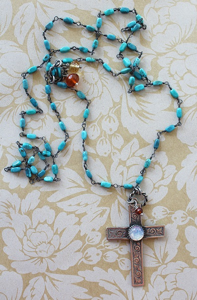 Turquoise and Oxidized Sterling Silver Cross Necklace - The Taos Necklace