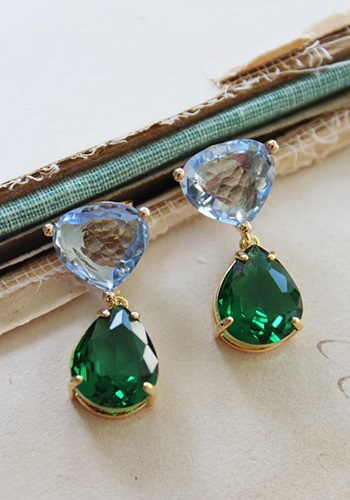 Light Blue and Emerald Green Quartz Post Earrings - The Willa Earrings