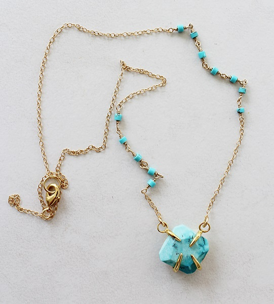Turquoise Bezel Necklace - The Antigua Necklace