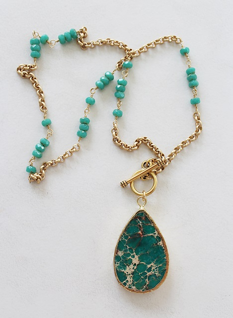 Deep Turquoise Sea Sediment Pendant Necklace - The Cabo Necklace