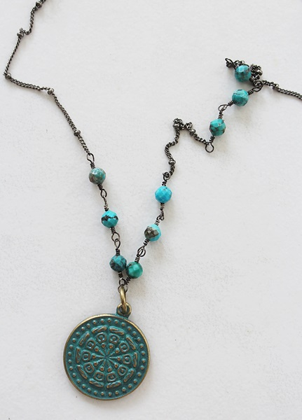 Chrysocolla Oxidized Medal Necklace - The Francie Necklace