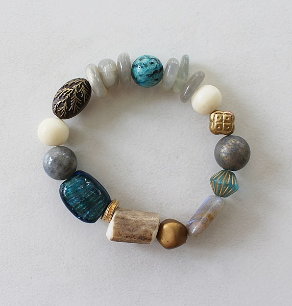 Mixed Gem and Glass Stretch Bracelet - The Molly Bracelet