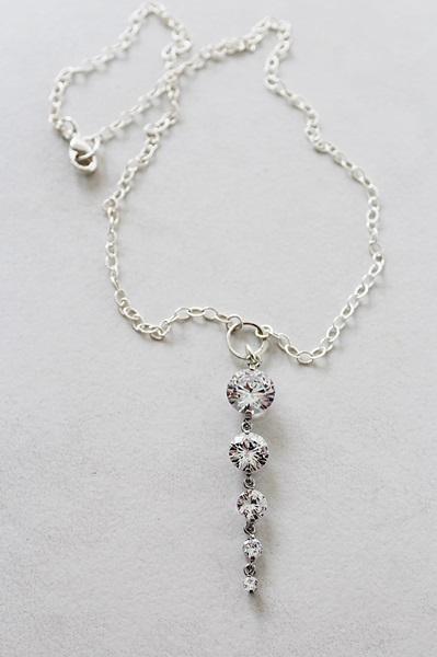 CZ Waterfall 14kt Gold or Sterling Silver Necklace - The Jillian Necklace
