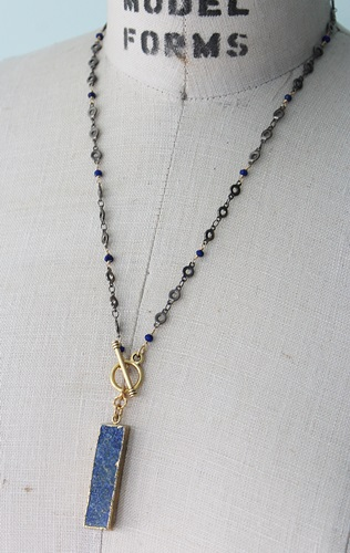 Lapis Mixed Metal Necklace - The Chelsea Necklace