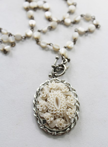 Mother of Pearl Shell and Vintage Celluloid Pendant Necklace - The Lizzie Necklace