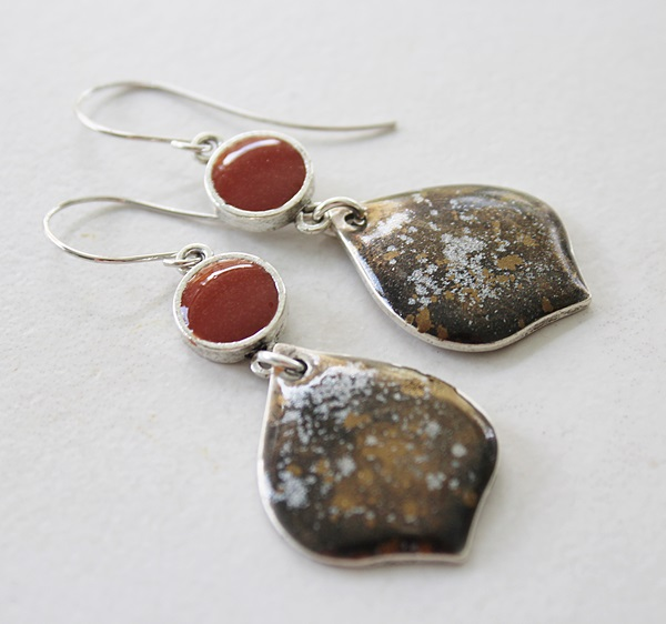 Colorblock Rust and Black Metallic Earrings - Fall Collection