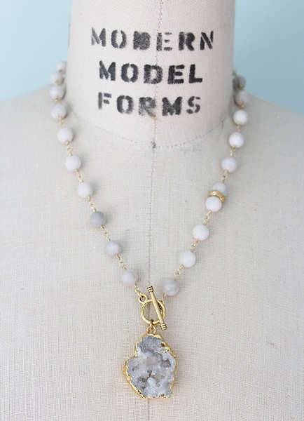 Matte Crazy Lace Agate and Druzy Necklace - The Nova Necklace