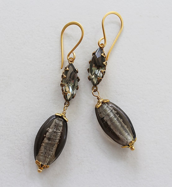 Vintage Black Diamond and Glass Earrings - The Laura Earrings