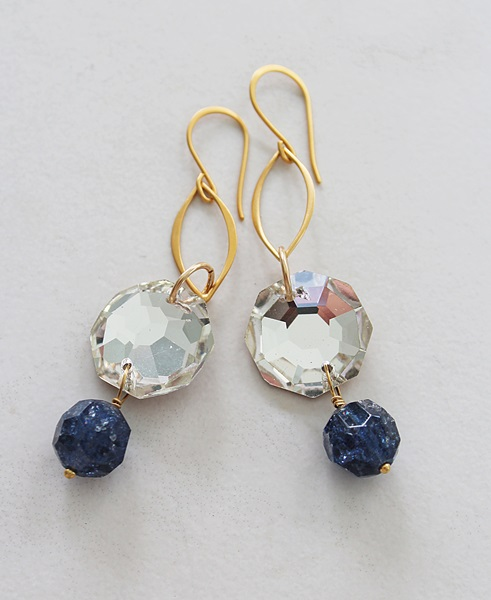 Vintage West German Glass and Gold Earrings - The Misty Earrings
