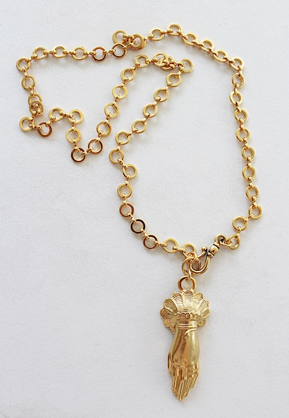 Antique French Hand Pendant on Gold or Silver Plated Rondo Chain - The Celeste Necklace
