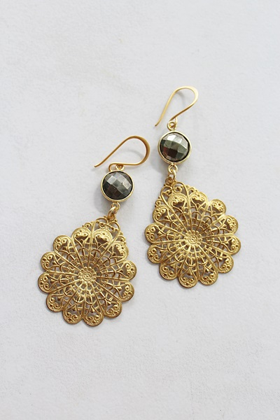 Pyrite and Vintage Filigree Earrings - The Dani Earrings
