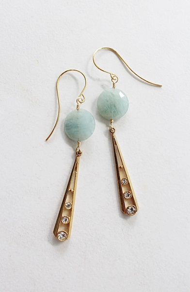 Amazonite and Vintage Rhinestone Dangle Earrings - The Luna Earrings
