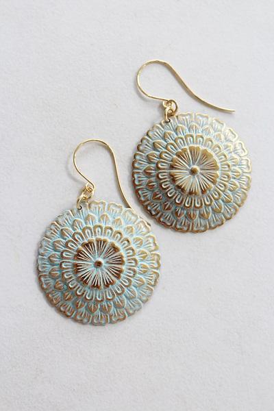 Aqua Filigree Disc Earrings - The Lena Earrings