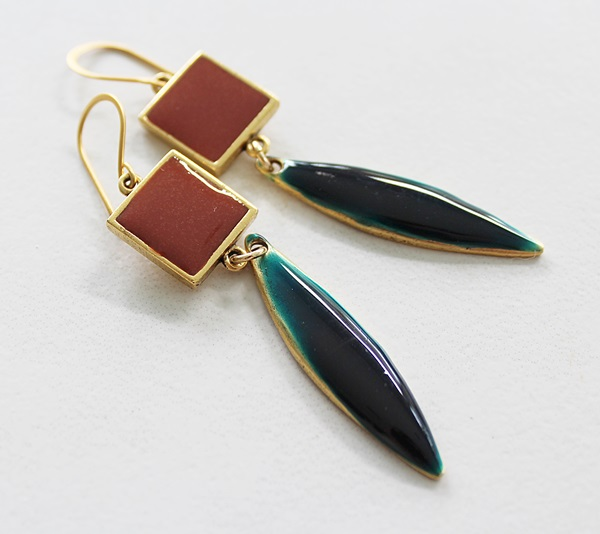 Colorblock Rust and Teal Resin Earrings - Fall Collection
