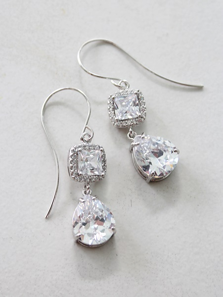 Cushion Cut CZ and Drop Earrings - The Carly Earrings