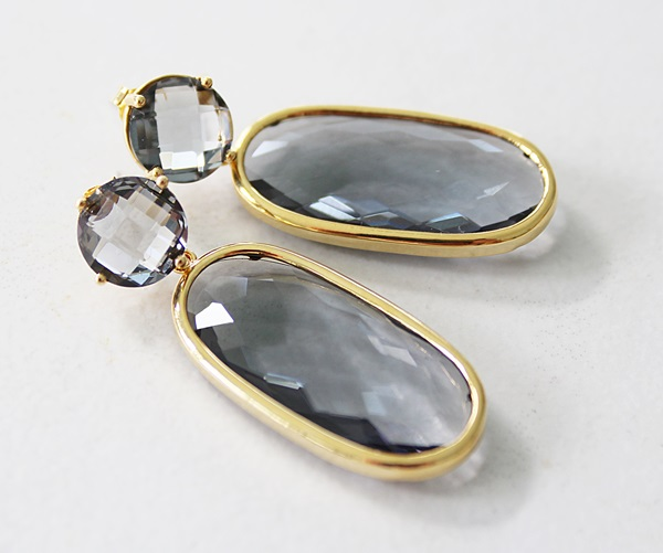 Gray Post and Dangle Earrings - The Stormy Earrings