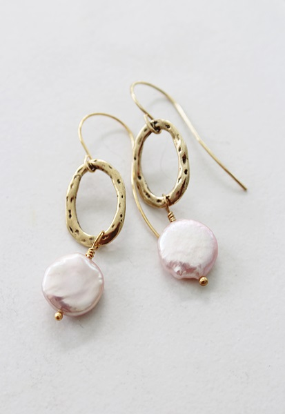 Blush Fresh  Water Pearl Earrings - The Christa Earrings