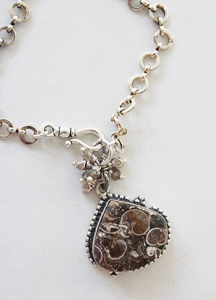 Ammonite Fossil and Quartz Cluster Necklace - The Lota Necklace