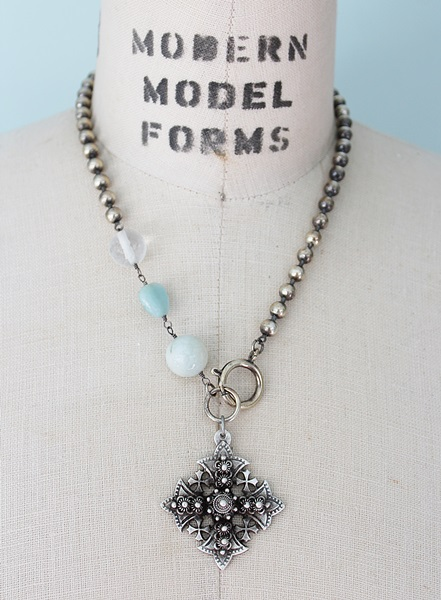 Forged Cross in Sterling Clad with Amazonite Necklace - The Beloved Necklace