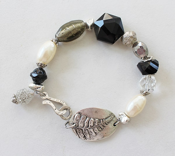 Mixed Gem and Glass Leaf Bracelet - The Ash Bracelet